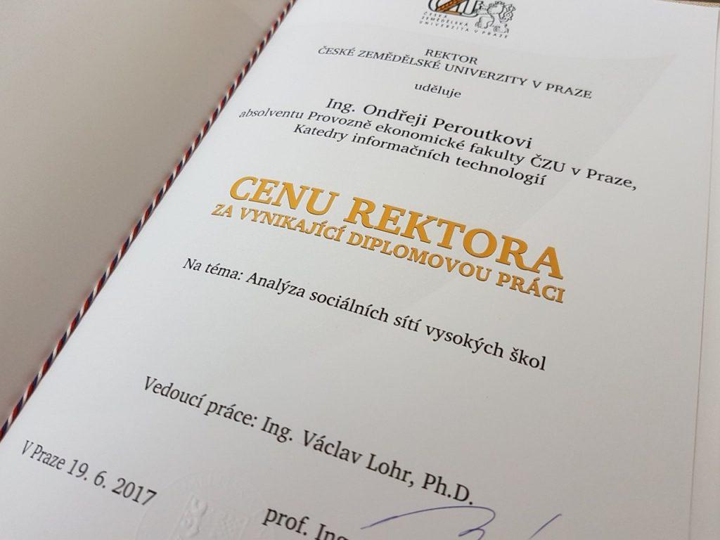 Cena rektora za vynikající diplomovou práci - PEF ČZU